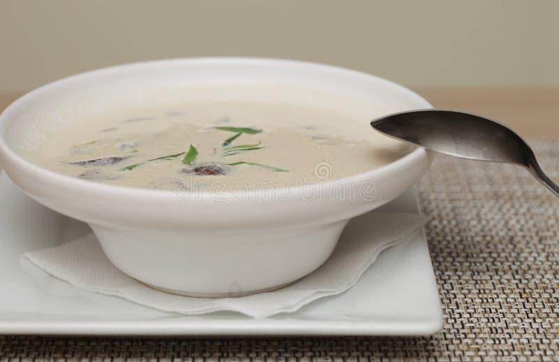 Misosuppe im weißen Teller lizenzfreies stockbild