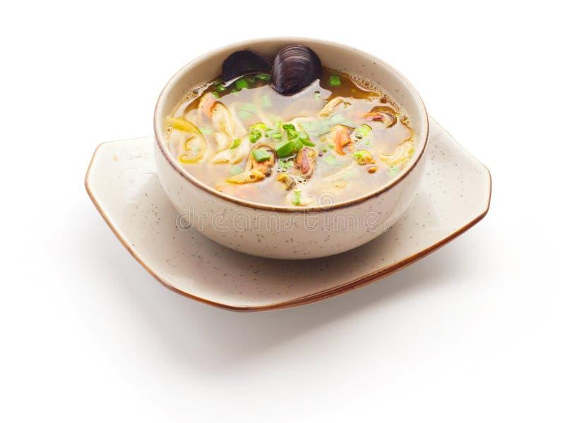 Misosuppe mit Miesmuschel und Zwiebel stockfotos