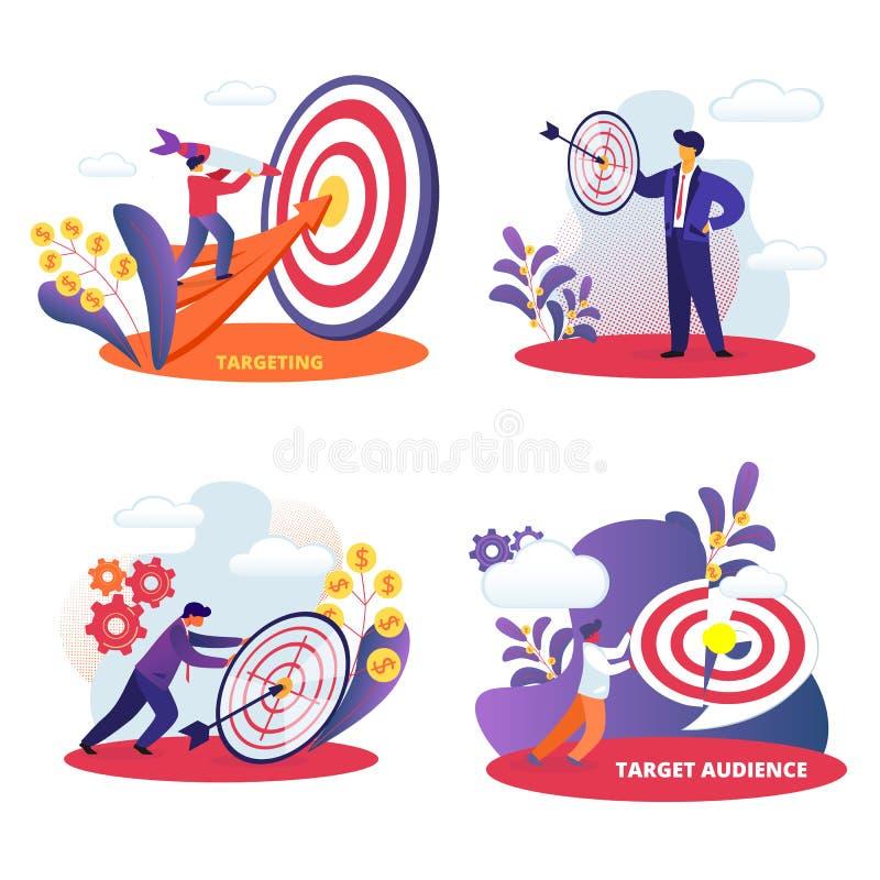 A missão aspiracional dos povos conseguiu desafio ilustração stock