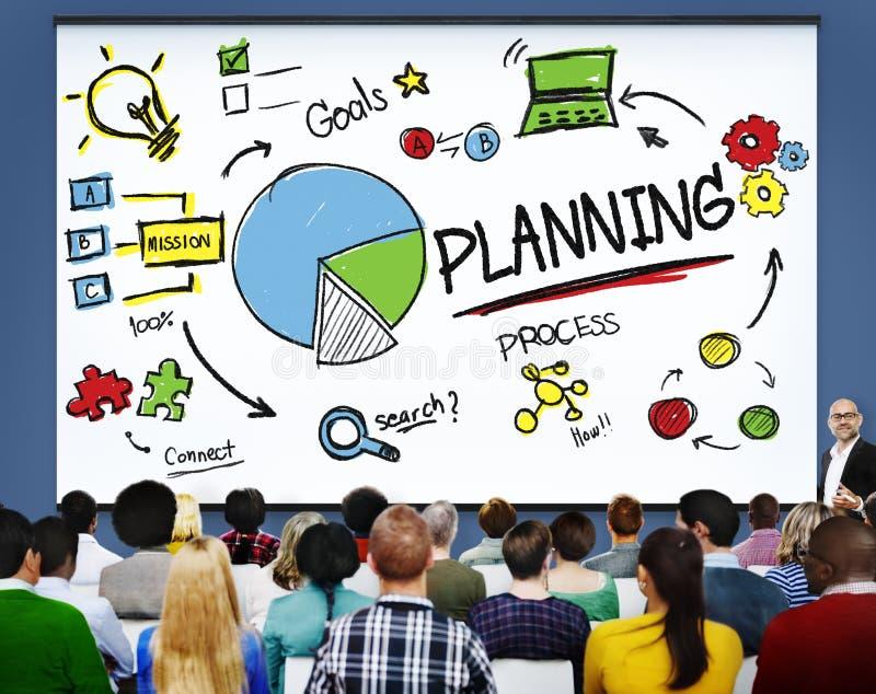 A missão dos objetivos da busca da estratégia do planeamento conecta o conceito do processo imagens de stock