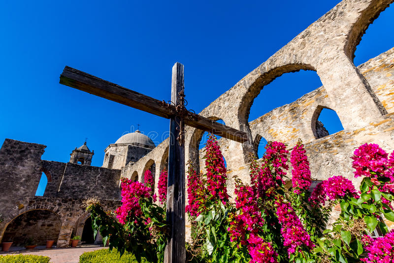 A missão espanhola ocidental velha histórica San Jose, fundado em 1720, fotos de stock