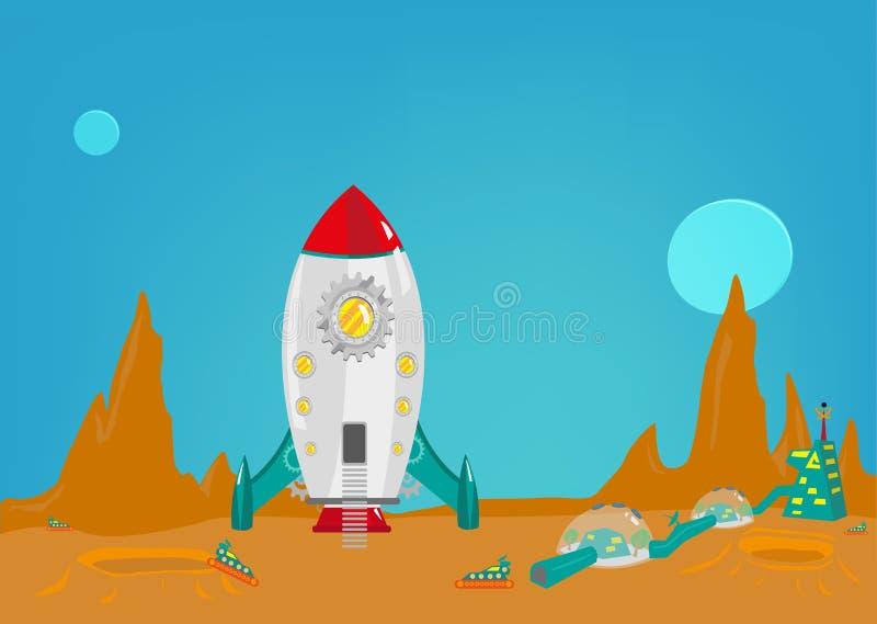 A missão a um outro planeta como estraga com uma colônia pequena dos homens da terra Clipart editável ilustração stock
