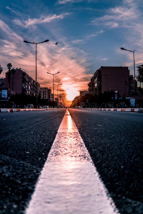 Miss aldrig soluppsättningen i Marrakesh Marocko royaltyfri fotografi