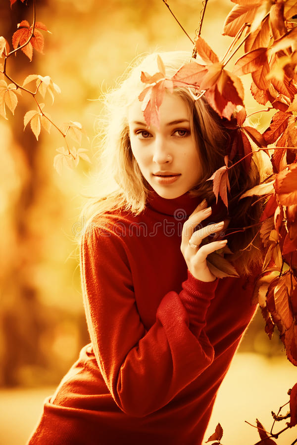 Miss autumn. Autumn portrait of beautiful young girl royalty free stock photos