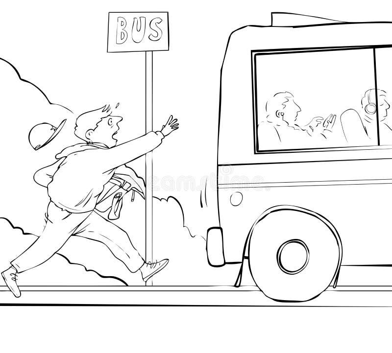 Miss bussen stock illustrationer