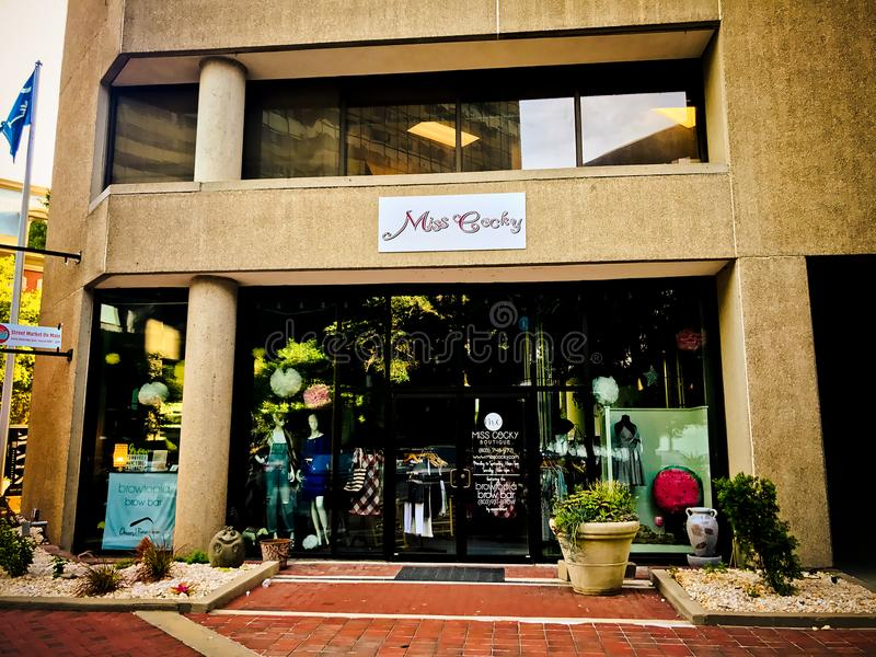 Miss Cocky Boutique, Main Street, Columbia, South Carolina.  royalty free stock image