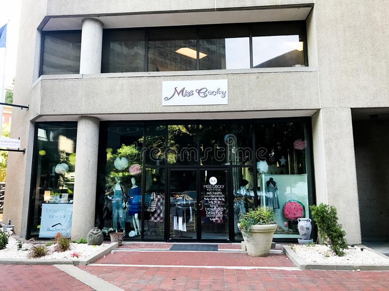 Miss Cocky Boutique, Main Street, Columbia, South Carolina.  stock photos