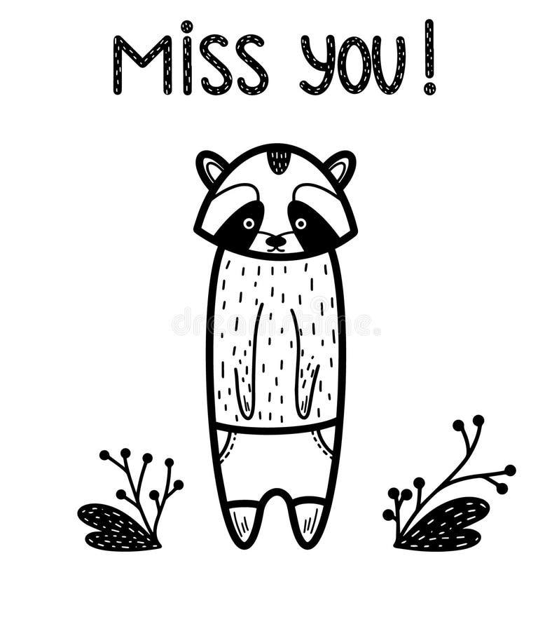 Miss dig! Gulligt ledset djurt kort Vektorillustration som isoleras på vit med bladet, hjärta Skandinavisk stil Handdrawn tvättbj vektor illustrationer