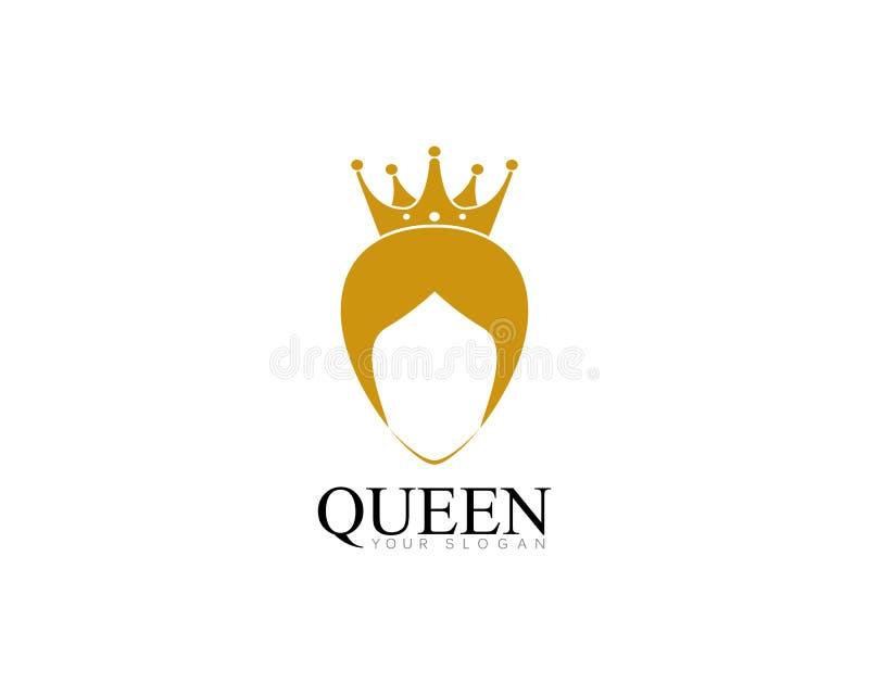 miss dorato con il illsutration di vettore di logo del modello della corona illustrazione di stock