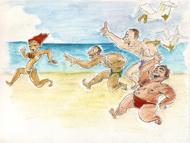 Miss? heiiii Miss?. A girl is running on the beach followed by 3 men and 2 seagulls who are trying to catch her