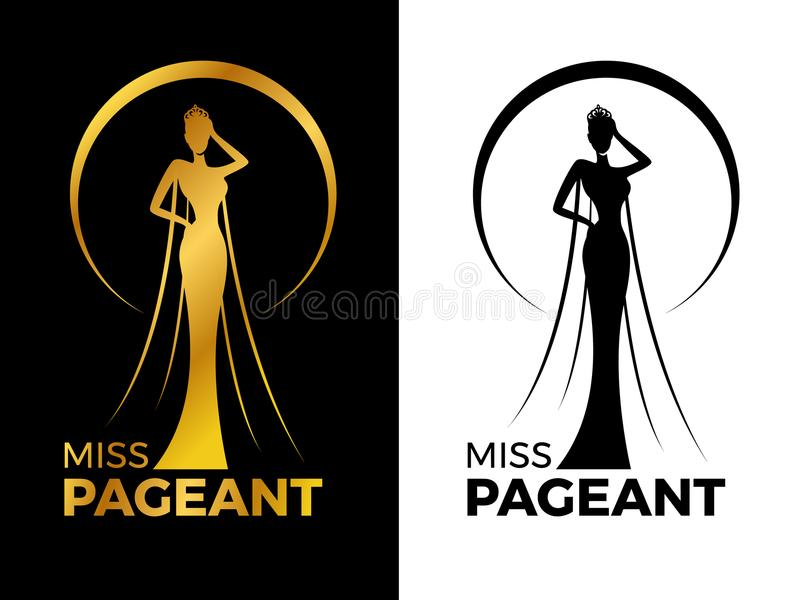 Miss lady pageant logo sign with Gold and black woman wear Crown in circle ring vector design vector illustration