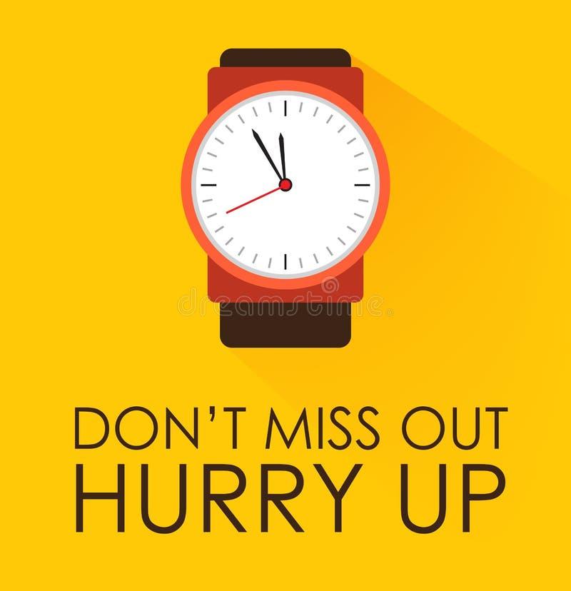 Miss Out inte, skynda sig upp begrepp Stoppurklocka som tickar på gul bakgrund stock illustrationer