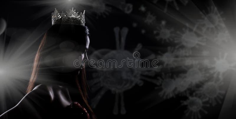 Miss Pageant Contest Silhouette mit Diamond Crown lizenzfreies stockbild