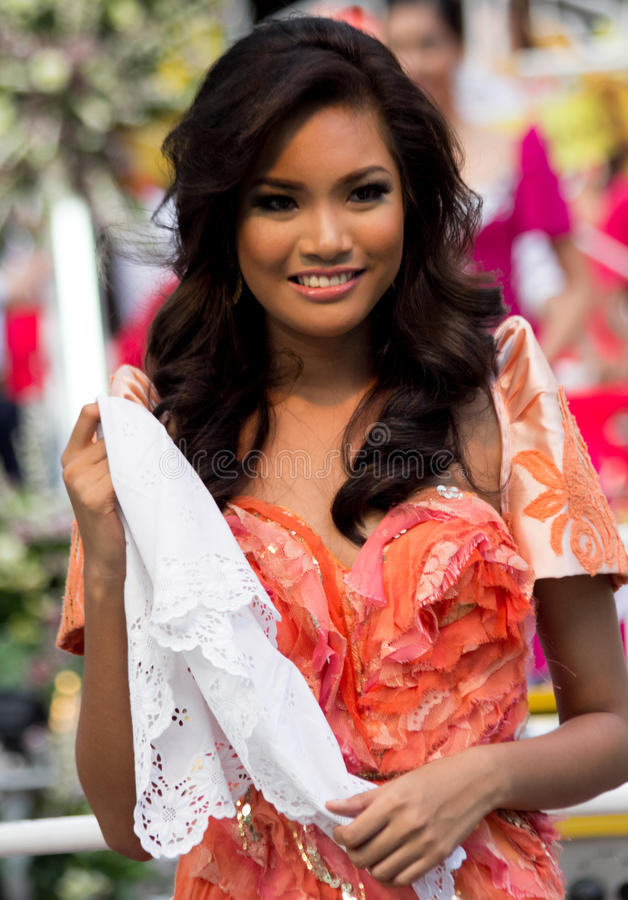 Miss Philippines, Binibining Pilipinas joins Santacruzan in Manila. Metro Manila, Philippines- May 18, 2013: Annual procession practiced by the catholic church stock images