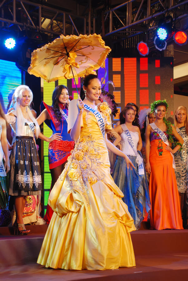 Miss philippines wearing National costume royalty free stock photography