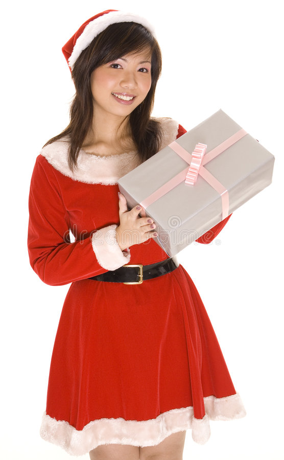 Free Miss Santa And Present Stock Image - 246001
