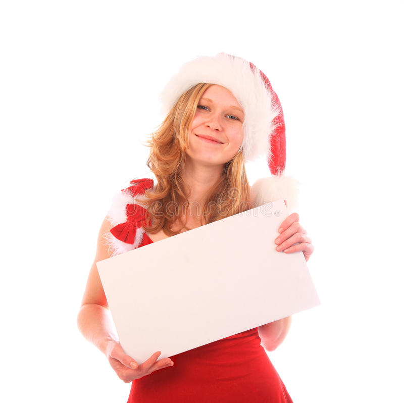 Miss Santa Is Holding An Ad Royalty Free Stock Photography