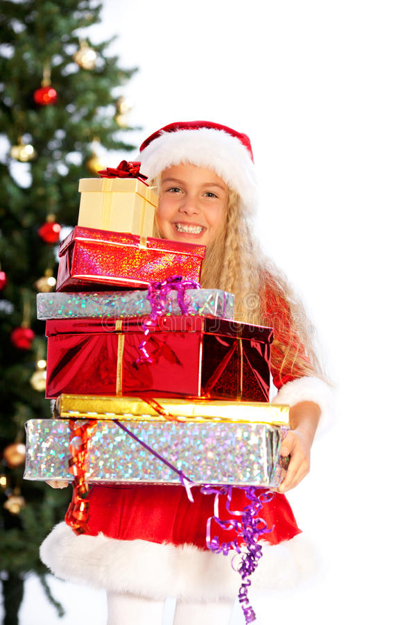 Download Miss santa holding  gifts stock photo. Image of copyspace - 16775882