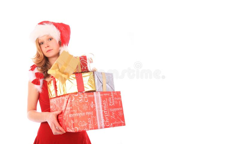 Download Miss Santa Is Losing One Gift Box - Rectangle Crop Stock Image - Image of miss, lady: 16169455