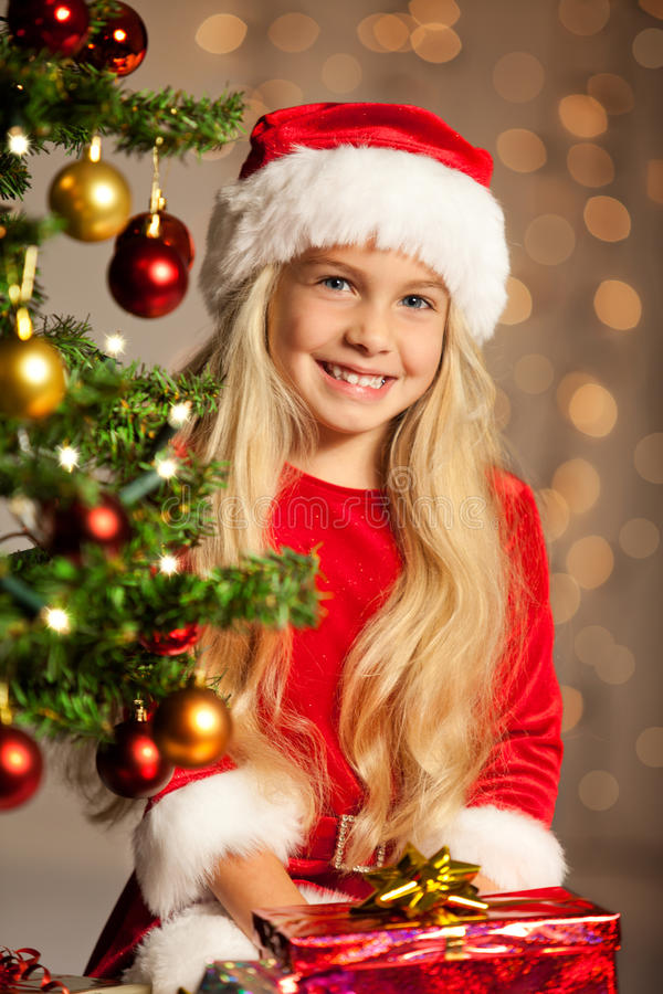 Miss santa smiling stock images