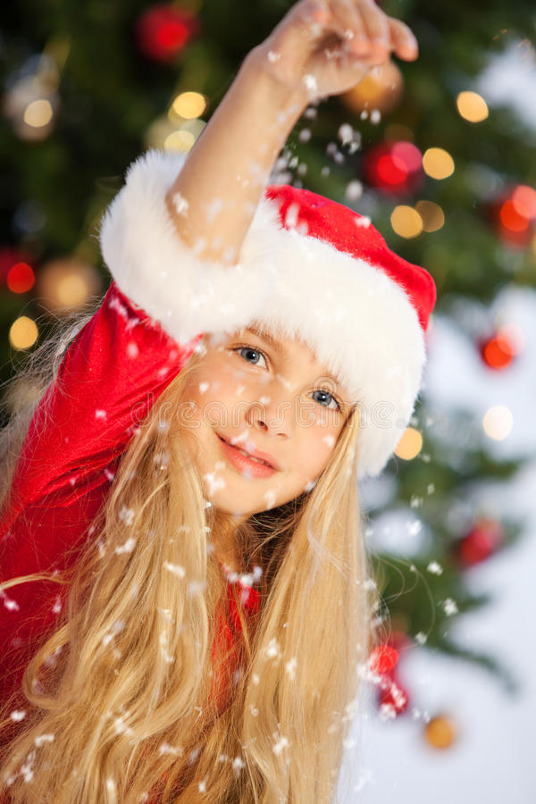 Download Miss santa with snow stock photo. Image of time, girl - 16367622