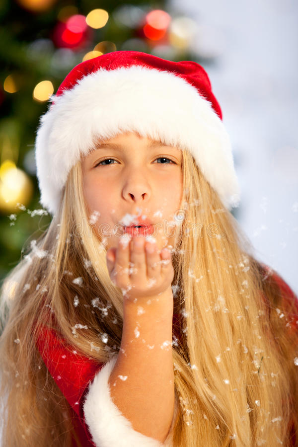 Download Miss santa with snow stock image. Image of christmas - 16908331