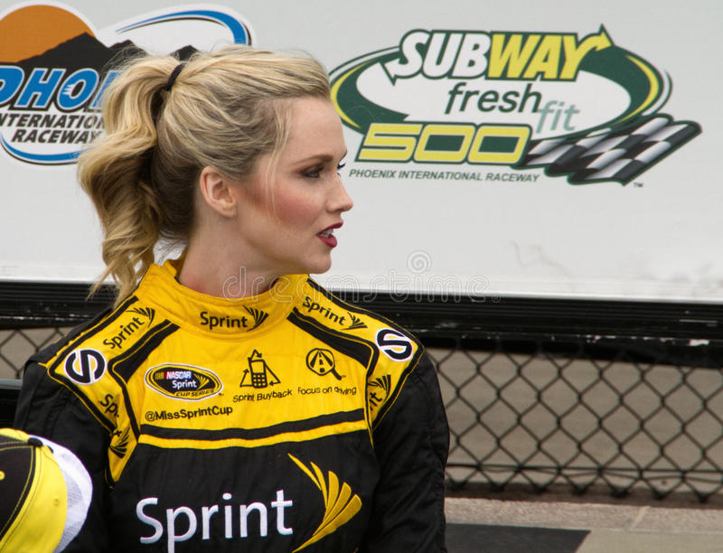 Miss NASCAR Sprint Cup. Miss Sprint Cup in Victory Lane at the Subway Fresh Fit 500 NASCAR Sprint Cup Race in Phoenix, Arizona, USA royalty free stock image