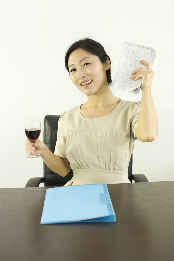 A miss staff cheering in office royalty free stock photo