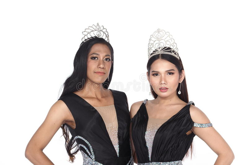 Miss Transgender Pageant Contest i lång boll för aftonbollkappa royaltyfri foto