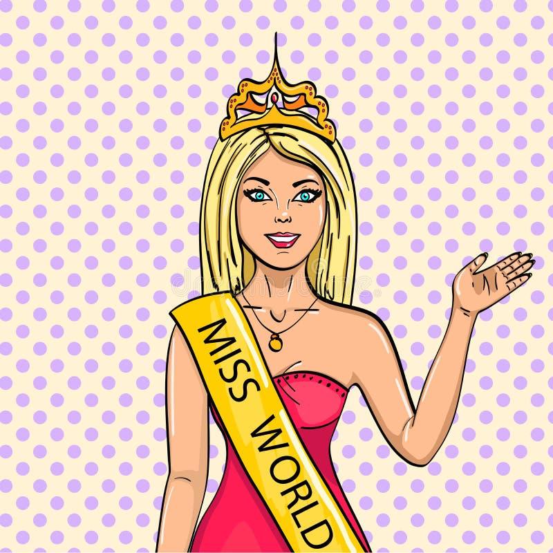 Miss världen av skönhet Flickan, vinnaren av striden av modeller raster popkonst Efterföljden av komiker royaltyfri illustrationer