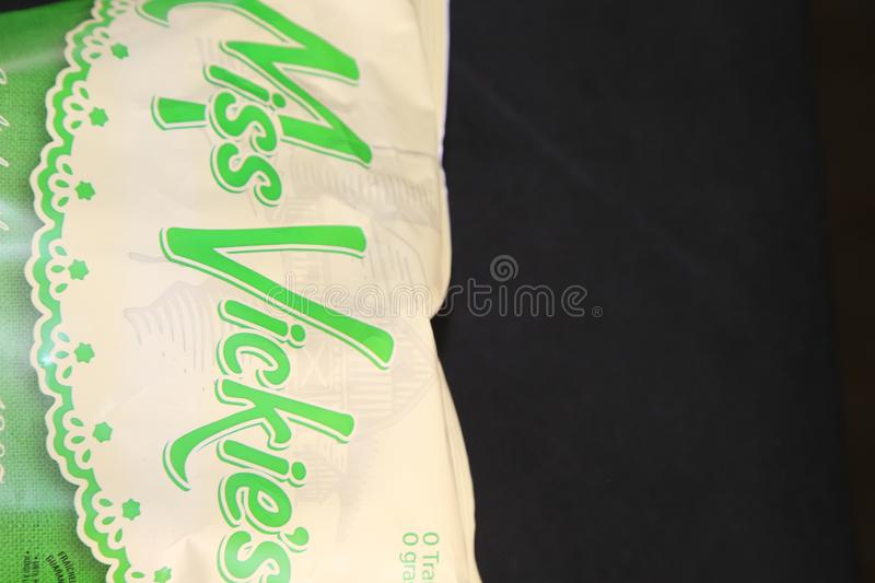Miss Vickie`s - manufacturing potato chips. Miss Vickie`s is a Canadian brand of potato chips made by Frito-Lay in North America. What makes the manufacturer royalty free stock image