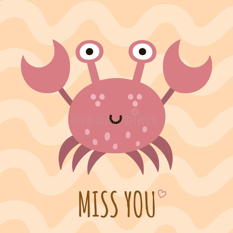 Miss you cute card, poster with a funny crab vector illustration
