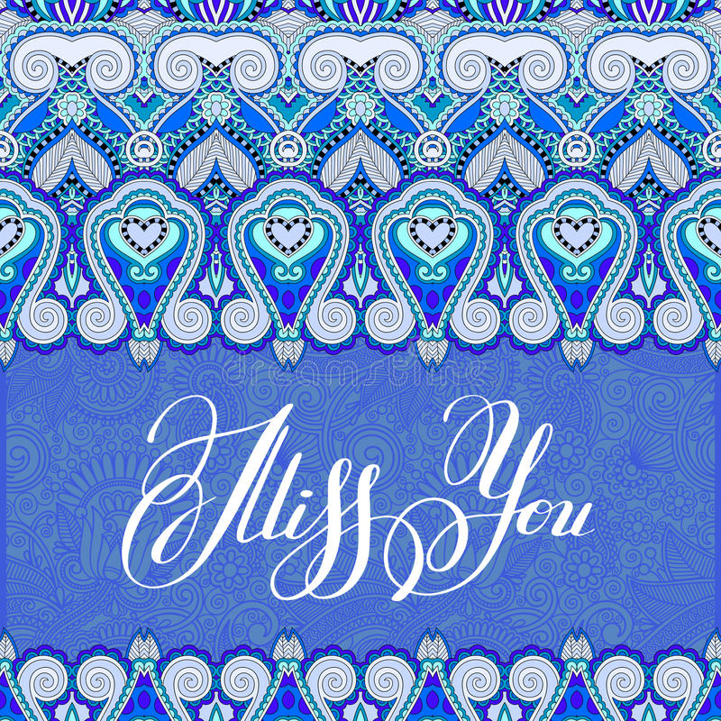 miss you inscription hand lettering on luxury floral paisley design vector illustration