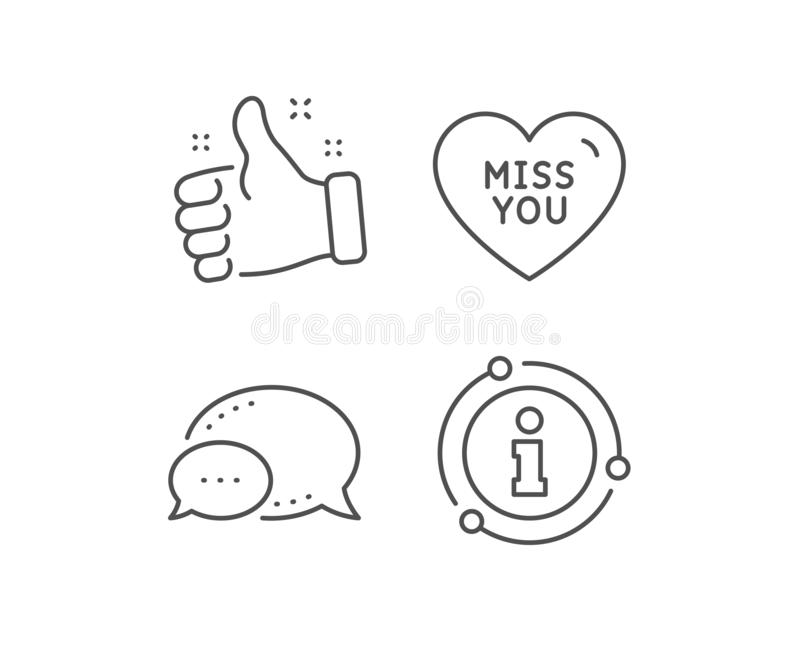 Miss you line icon. Sweet heart sign. Valentine day love. Vector. Miss you line icon. Chat bubble, info sign elements. Sweet heart sign. Valentine day love vector illustration