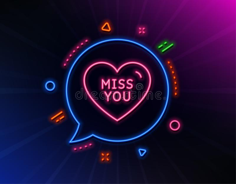 Miss you line icon. Sweet heart sign. Valentine day love. Vector. Miss you line icon. Neon laser lights. Sweet heart sign. Valentine day love symbol. Glow laser royalty free illustration