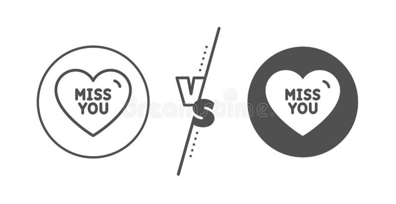 Miss you line icon. Sweet heart sign. Valentine day love. Vector. Sweet heart sign. Versus concept. Miss you line icon. Valentine day love symbol. Line vs vector illustration