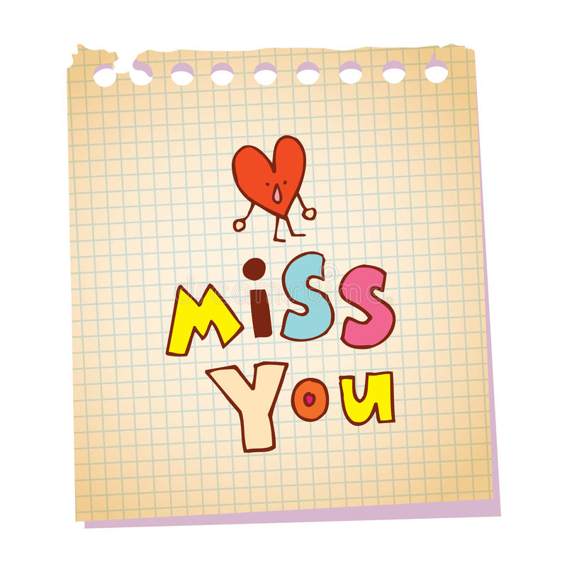 Miss you notepad paper message royalty free illustration