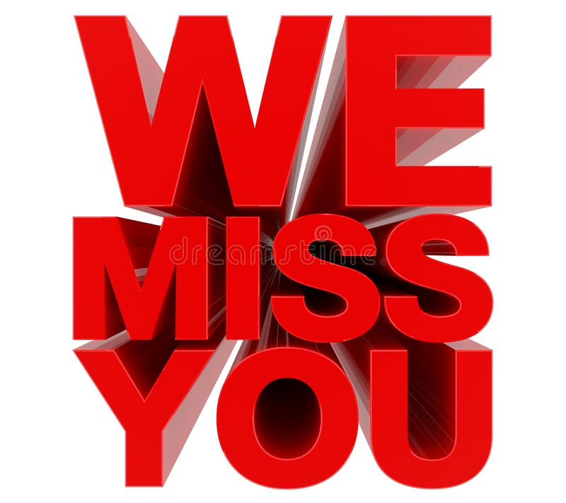 WE MISS YOU red word on white background 3d rendering royalty free stock photos