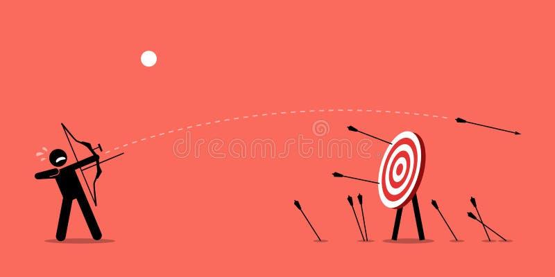 Missa som slår målet vektor illustrationer