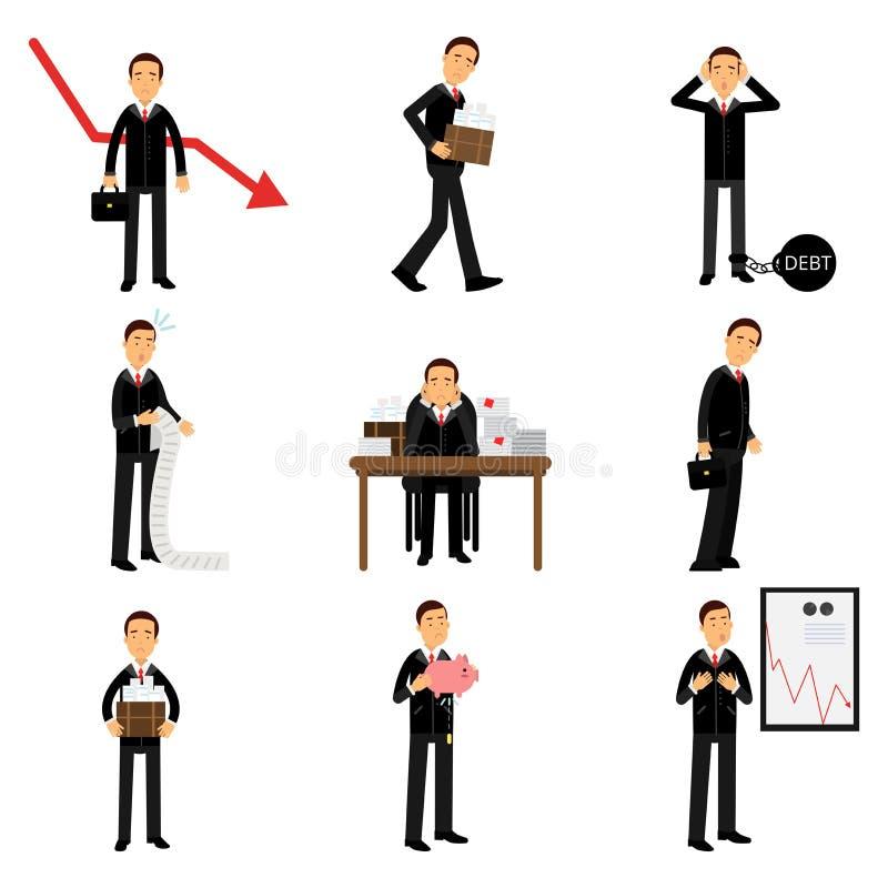 Missat affärsmantecken - uppsättning, affär och finansiellt fel stock illustrationer