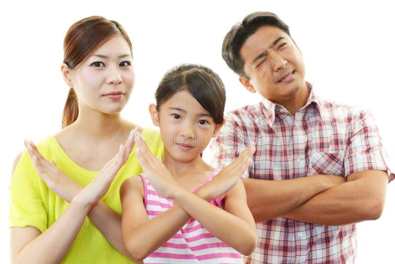 Missbelåten familj arkivbilder