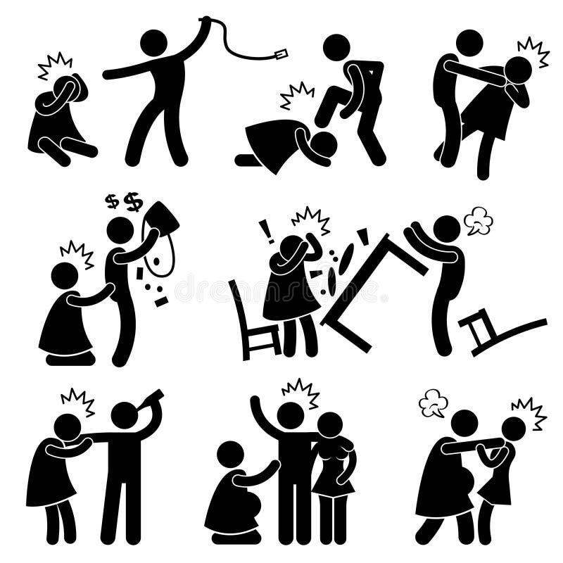 Missbräuchlicher Ehemann-hilfloses Frau-Piktogramm vektor abbildung