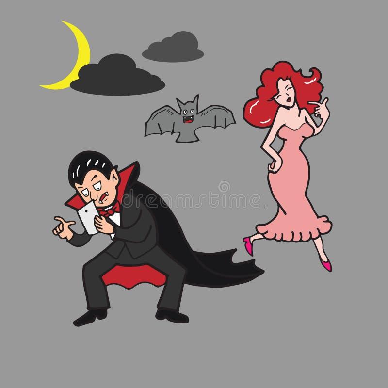 Missbrukad vampyrinternet vektor illustrationer