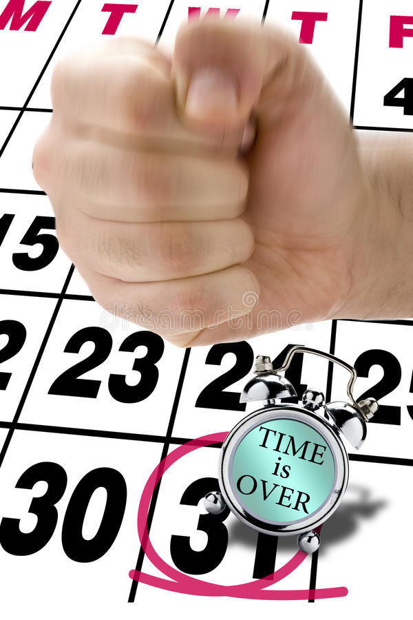 Missed Deadline Stress Fist Hit Clock Alarm royalty free stock photos