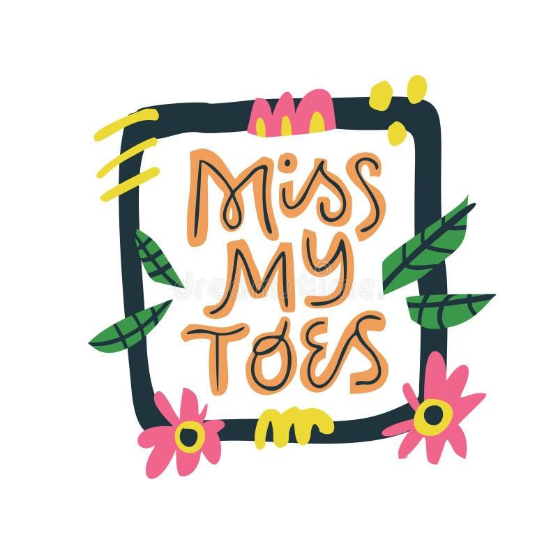 Misser mijn tenen hand het getrokken vector van letters voorzien royalty-vrije illustratie