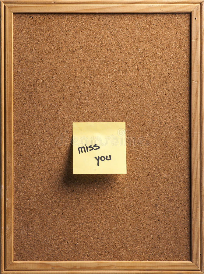 Misser You Note stock afbeelding