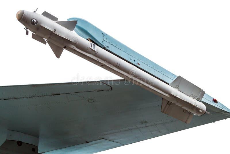 Missil under det isolerade vingattackflygplanet arkivfoton