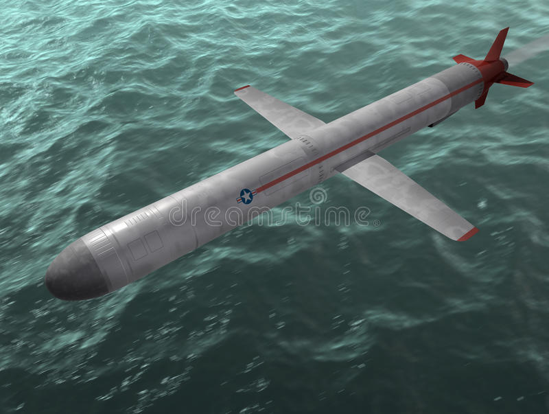 The missile. The cruise missile flies over the sea. 3d image royalty free illustration