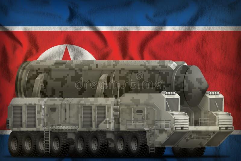 Missile balistico intercontinentale con il cammuffamento della città sulle sedere della bandiera nazionale del repubblica democra fotografia stock libera da diritti