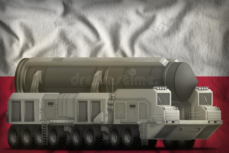 Missile balistico intercontinentale sui precedenti della bandiera nazionale della Polonia illustrazione 3D fotografia stock libera da diritti